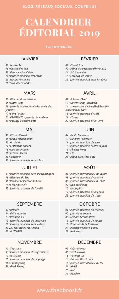 Le calendrier éditorial 2019 par TheBBoost - Comment créer un planning éditorial pour son blog. #marketing #planning #calendrier #editorial #autoentrepreneur