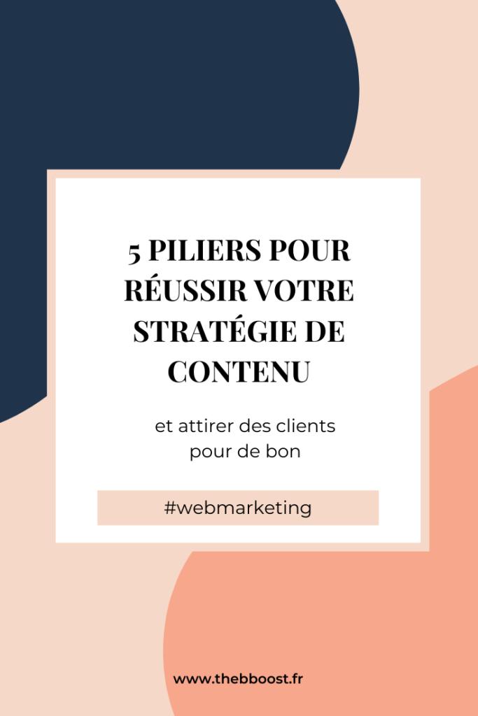 Les 5 piliers pour une stratégie de contenu réussie en webmarketing. Un article et un podcast de www.thebboost.fr